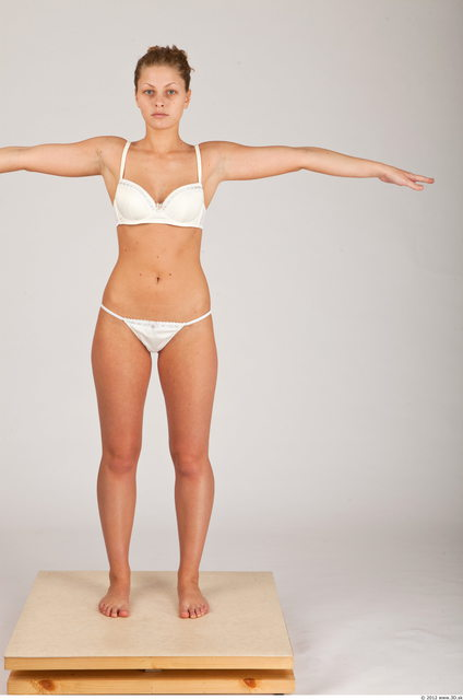 Whole Body Woman T poses White Underwear Athletic