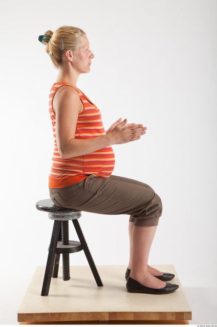 Whole Body Woman Artistic poses White Casual Pregnant