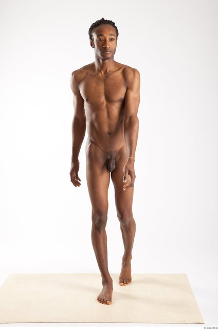 Whole Body Man Animation references Black Nude Casual Athletic Studio photo references