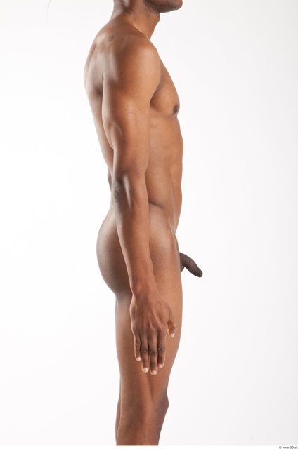 Arm Whole Body Man Animation references Black Nude Casual Athletic Studio photo references