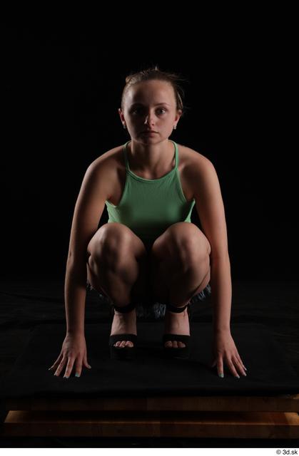 Whole Body Woman White Slim Kneeling Studio photo references