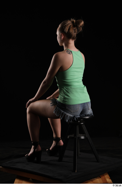 Whole Body Woman White Slim Sitting Studio photo references