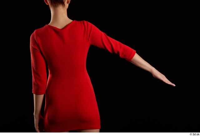 Arm Back Woman Dress Slim Studio photo references