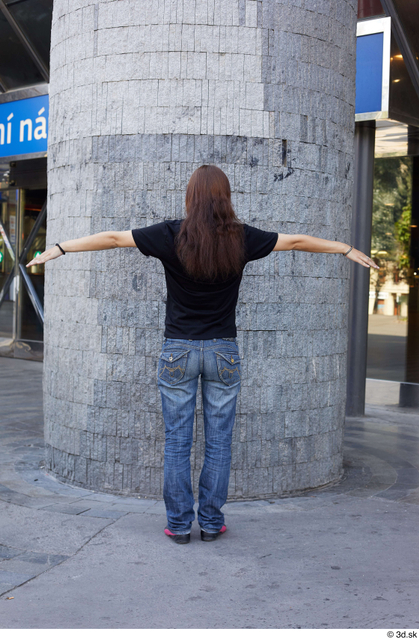Whole Body Woman T poses White Casual Slim Pregnant Standing Street photo references