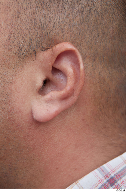 Ear Man White Casual Overweight Street photo references
