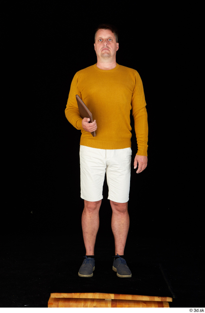 Whole Body Man White Casual Shoes Sweatshirt Shorts Chubby Standing Studio photo references