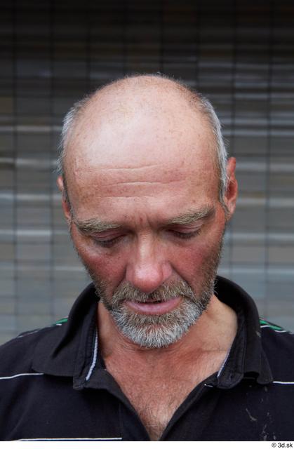 Head Man White Casual Slim Bald Street photo references
