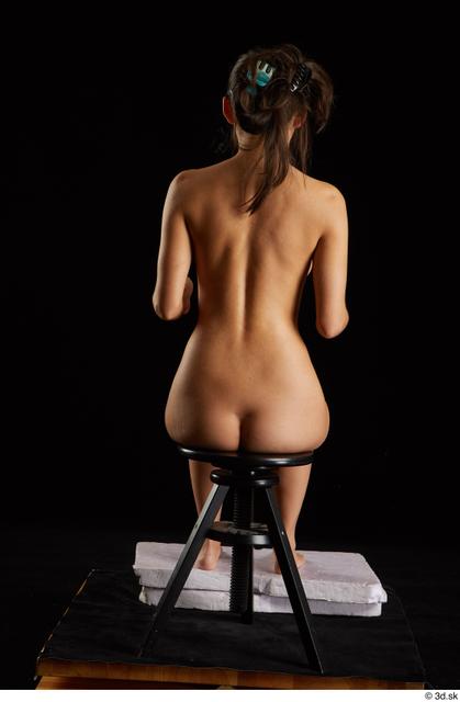 Whole Body Woman White Nude Slim Sitting Studio photo references