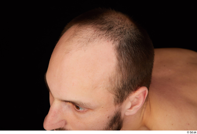 Hair Man White Slim Bald Studio photo references