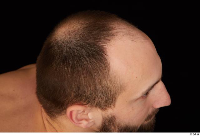 Hair Man White Slim Bald Studio photo references