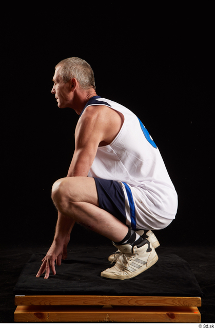 Whole Body Man White Average Kneeling Studio photo references