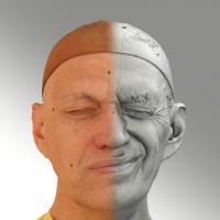 Raw 3D head scan of sneer emotion left - Jan