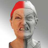 Raw 3D head scan of angry emotion - Drahomira