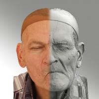 3D head scan of sneer emotion left - Petr