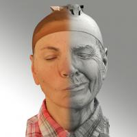3D head scan of sneer emotion left - Iveta