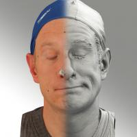 3D head scan of sneer emotion left - Marcel