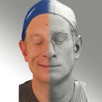 3D head scan of sneer emotion right - Marcel