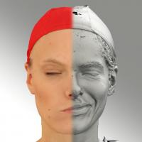 3D head scan of sneer emotion left - Dana