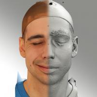 3D head scan of sneer emotion right - Jiri