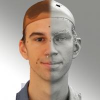 3D head scan of natural smiling emotion - Kuba