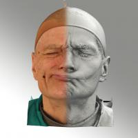 3D head scan of sneer emotion right - Zdenek