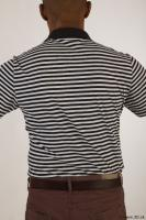 Upper black white striped shirt brown jeans of Arturo 0006