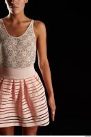 Arm flexing reference of body white dress pink skirt Eveline Dellai 0001