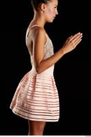 Arm flexing reference of body white dress pink skirt Eveline Dellai 0014