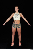 Chrissy Fox leopard shorts standing white tank top whole body 0009.jpg