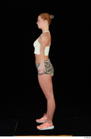 Chrissy Fox leopard shorts standing white tank top whole body 0011.jpg