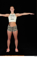 Chrissy Fox leopard shorts standing t-pose white tank top whole body 0001.jpg