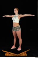 Chrissy Fox leopard shorts standing t-pose white tank top whole body 0002.jpg