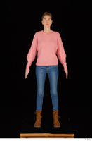 Shenika blue jeans brown shoes workers pink sweater standing whole body 0001.jpg