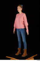 Shenika blue jeans brown shoes workers pink sweater standing whole body 0002.jpg