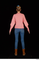 Shenika blue jeans brown shoes workers pink sweater standing whole body 0005.jpg