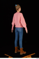 Shenika blue jeans brown shoes workers pink sweater standing whole body 0006.jpg