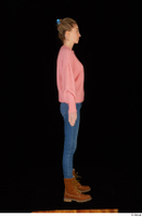 Shenika blue jeans brown shoes workers pink sweater standing whole body 0007.jpg