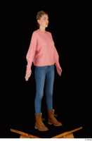 Shenika blue jeans brown shoes workers pink sweater standing whole body 0008.jpg