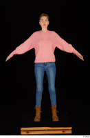 Shenika blue jeans brown shoes workers pink sweater standing whole body 0009.jpg