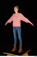 Shenika blue jeans brown shoes workers pink sweater standing whole body 0010.jpg