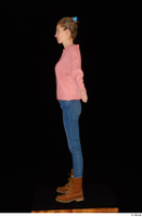Shenika blue jeans brown shoes workers pink sweater standing whole body 0011.jpg