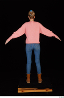 Shenika blue jeans brown shoes workers pink sweater standing whole body 0013.jpg