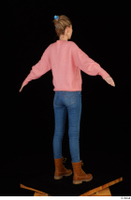 Shenika blue jeans brown shoes workers pink sweater standing whole body 0014.jpg