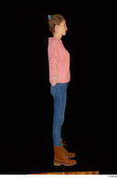 Shenika blue jeans brown shoes workers pink sweater standing whole body 0015.jpg