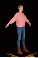 Shenika blue jeans brown shoes workers pink sweater standing whole body 0016.jpg