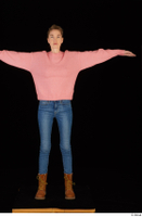 Shenika blue jeans brown shoes workers pink sweater standing t-pose whole body 0001.jpg