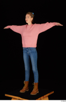 Shenika blue jeans brown shoes workers pink sweater standing t-pose whole body 0002.jpg