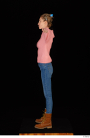 Shenika blue jeans brown shoes workers pink sweater standing t-pose whole body 0003.jpg