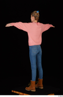 Shenika blue jeans brown shoes workers pink sweater standing t-pose whole body 0004.jpg