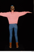 Shenika blue jeans brown shoes workers pink sweater standing t-pose whole body 0005.jpg